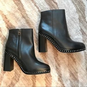 NWOT Coach Justina Black Leather Booties Size 7.5